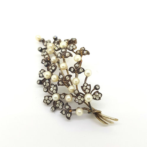 Certified Natural pearl and diamond spray brooch silver set