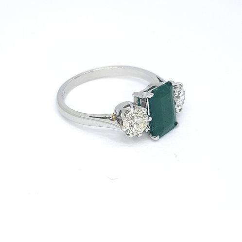 Emerald and diamond three stone E1.27CTS D0.85CTS