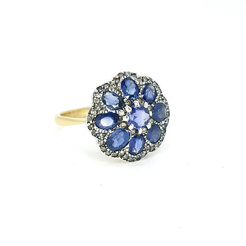 Silver set sapphire and diamond cluster ring