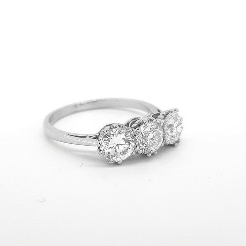 Platinum and diamond three stone ring.