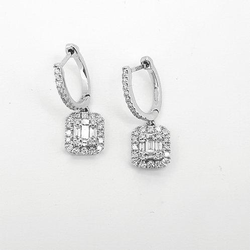 Baguette diamond earrings TDW0.66CTS