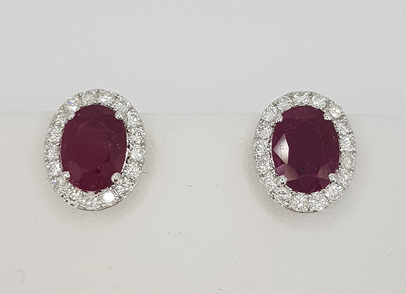 Ruby and diamond cluster earrings s2.67cts d0.55cts
