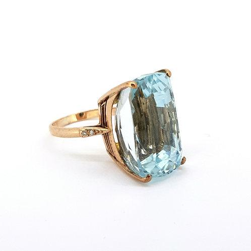 Blue and diamond Topaz ring