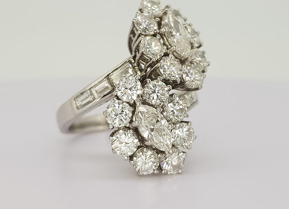Diamond double cluster ring est 4 80cts