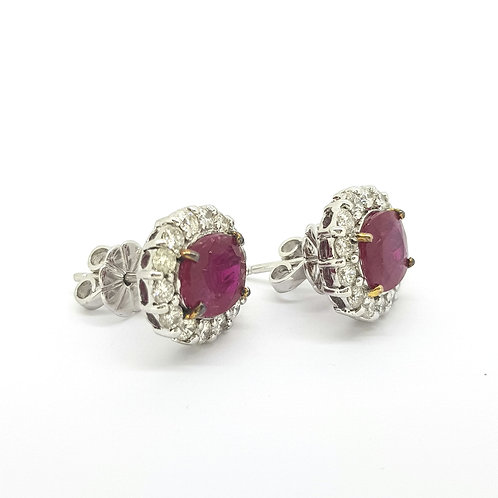 Ruby and diamond cluster earrings R4 65Cts D1.48Cts