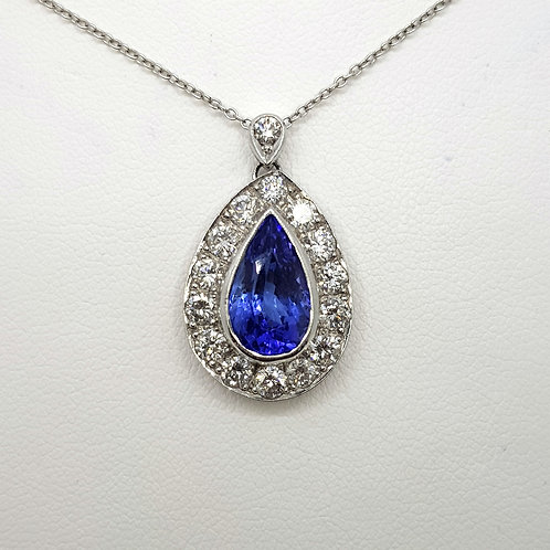 Tanzanite and diamond pendant tz2.70cts d1.35cts