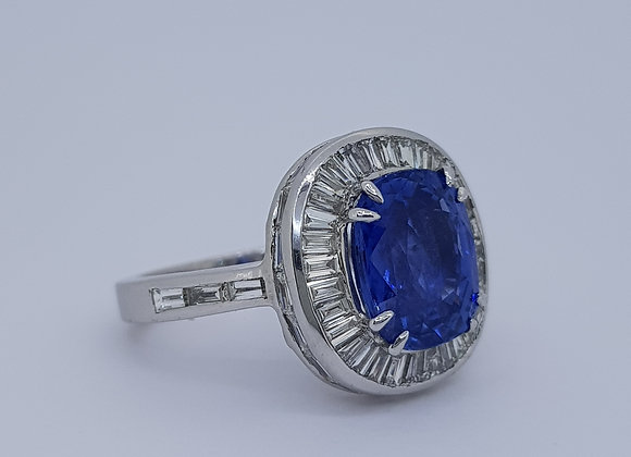 Sapphire and baguette diamond cluster ring.