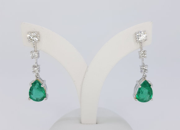 Emerald and diamond drop earrings e3.95cts d0.89cts