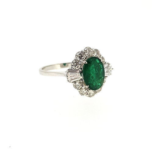 Emerald and diamond cluster ring E1.88Cts D1.01Cts
