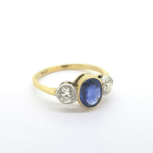 Sapphire and diamond three stone ring S1.26Cts D0.67Cts