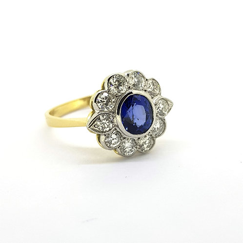 Platinum sapphire and diamond cluster ring S0.90Cts D1.20Cts