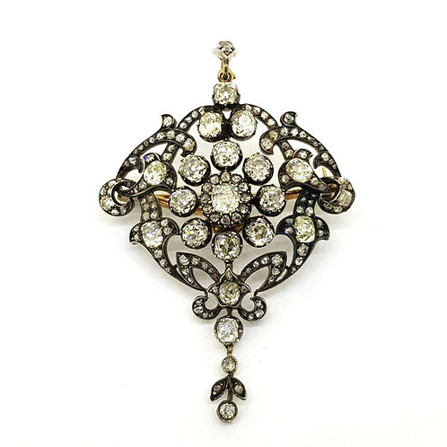 Antique old cut diamond brooch