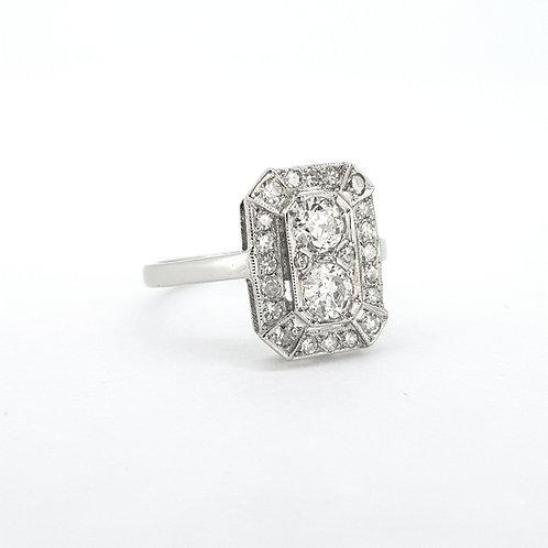 Deco cluster diamond ring platinum D1.0Cts