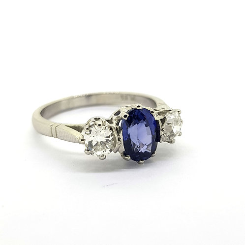 Platinum sapphire and diamond cluster ring S1.0Cts D0.60Cts