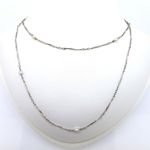 Natural Pearl and platinum chain