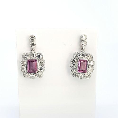 Pink sapphire and diamond drop earrings.