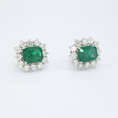 Emerald diamond cluster earrings E4.25CTS D2.30CTS