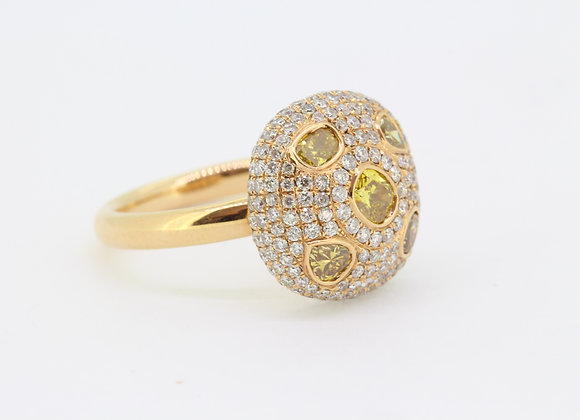Yellow diamond bomb ring d1.17cts yd1.01cts