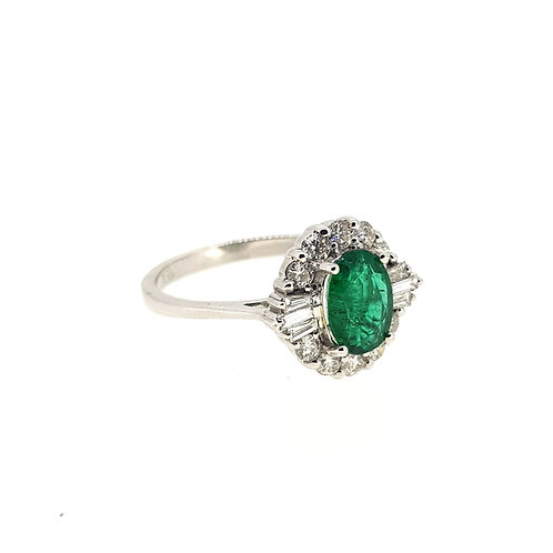 Emerald and diamond cluster ring E1.03Cts D0.50Cts