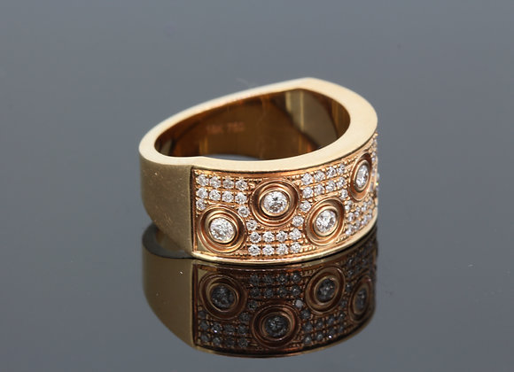 Rose gold wide diamond ring d.59cts