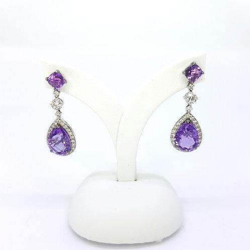 Amethyst and diamond earrings