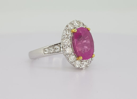 Pink sapphire and diamond cluster ring psr.17cts dia0.92cts