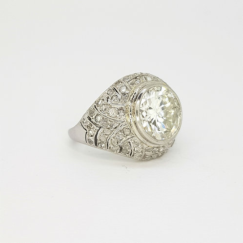 French Art Deco diamond ring Centre stone 3.78CTS