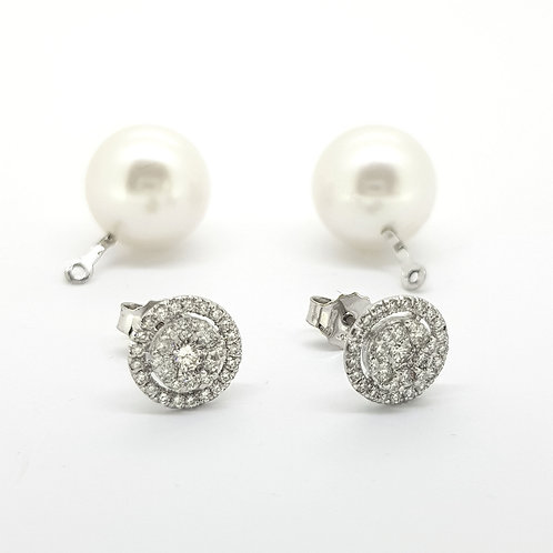 South Sea pearl and diamond cluster earrings