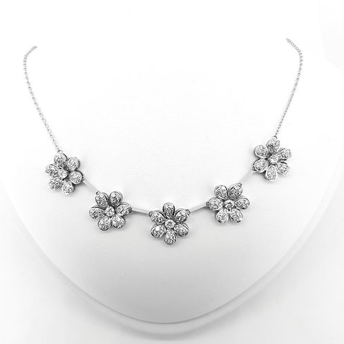 Diamond daisy cluster necklace D3.75Cts est.