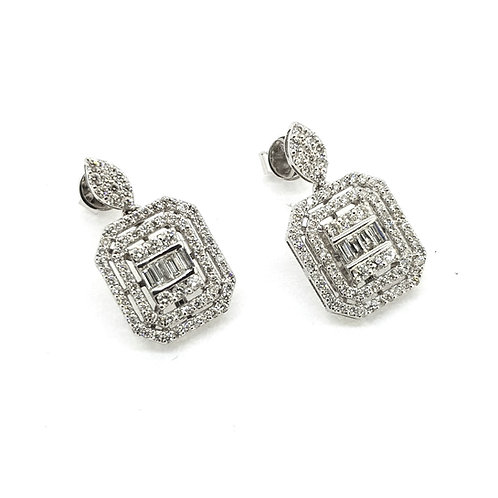 18ct diamond drop earrings double halo