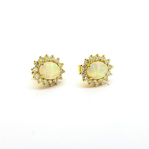 Opal and diamond cluster earrings Op1.15Cts D0.71Cts