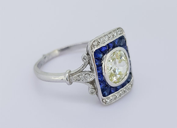 Sapphire and diamond panel ring.