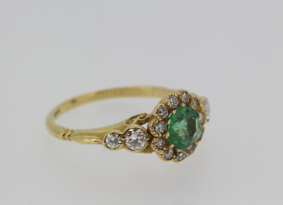 Georgian style old cut and emerald ring