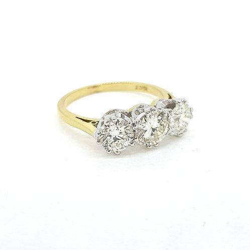 Three stone diamond ring D2.06 Hcol Si