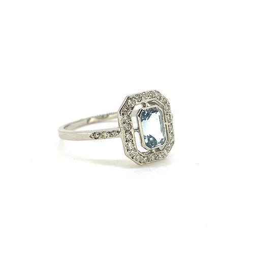 Aquamarine and diamond Halo ring Aq1.80Cts D0.20Cts