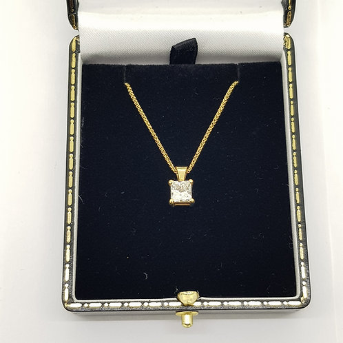 Princess cut diamond pendant 1.0cts H VS1