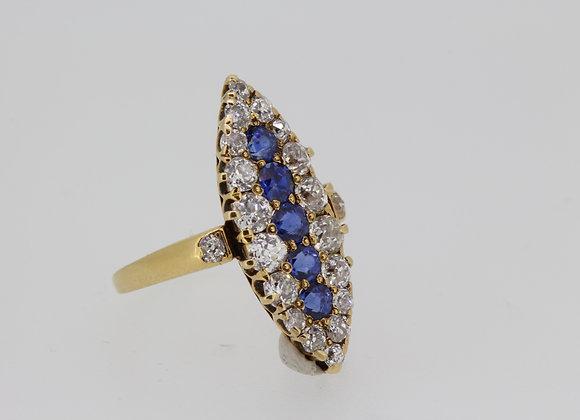 Sapphire and diamond navett ring