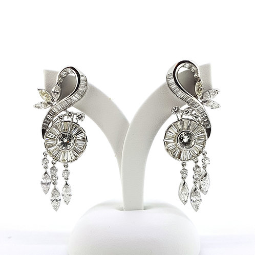 1950's Scroll Diamond earrings Est 6cts