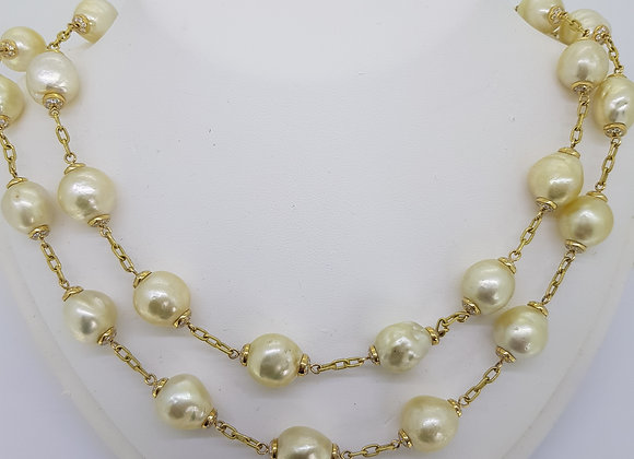 Southsea pearl and diamond necklace.