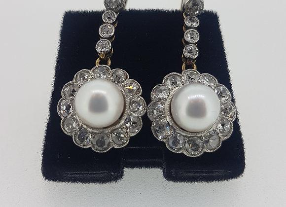 Vintage pearl and diamond drop earrings