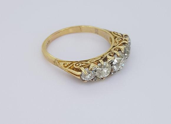 18ct Victorian old cut diamond ring.