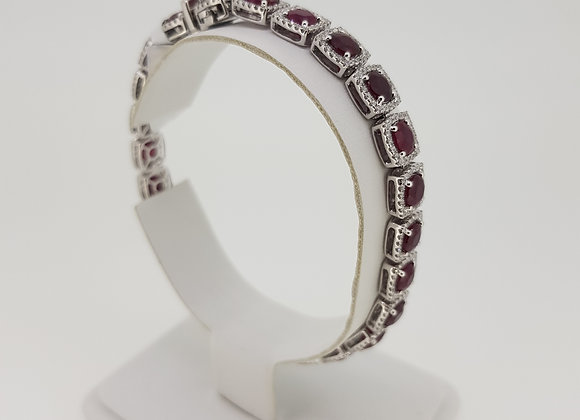 Ruby diamond cluster bracelet r13.55cts d1.92cts