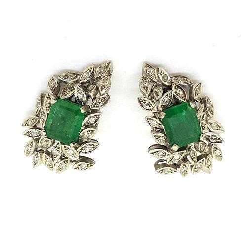 Emerald and diamond vintage earrings 18ct