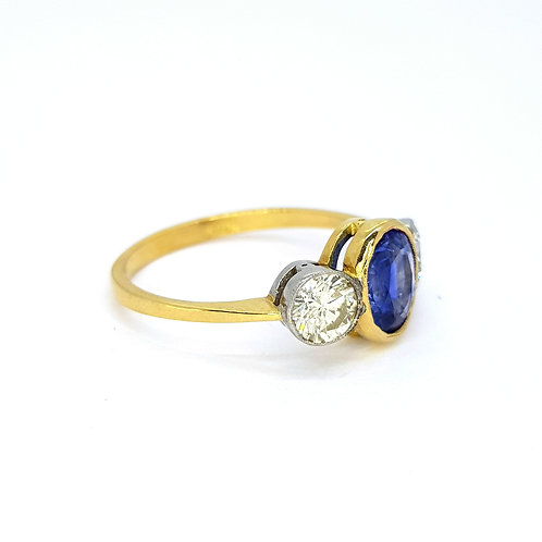Sapphire and diamond three stone ring S1.47CTS D0.90CTS