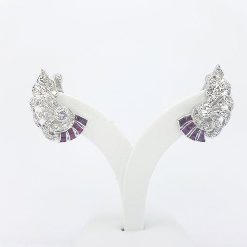 Art deco ruby and diamond earrings 18 carat