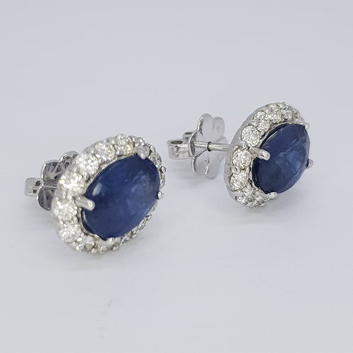 Sapphire and diamond cluster studs earrings S5.35Cts D1.20cCts