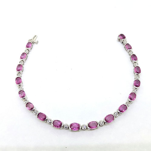 Pink sapphire and diamond bracelet Ps8.60Cts D0.50Cts