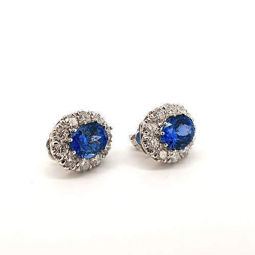 Tanzanite and diamond cluster earrings TZ5.60CTS D2.05CTS