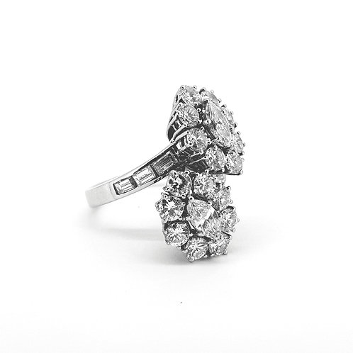Diamond double cluster ring est 5.50cts