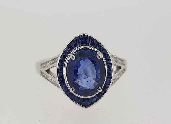 Sapphire and diamond calibre set ring sapphire 1.85 cts